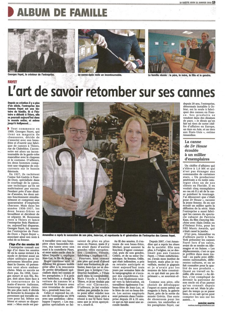Gazette article 2016 Canne Fayet