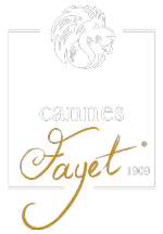 Logo footer cannes fayet blanc or
