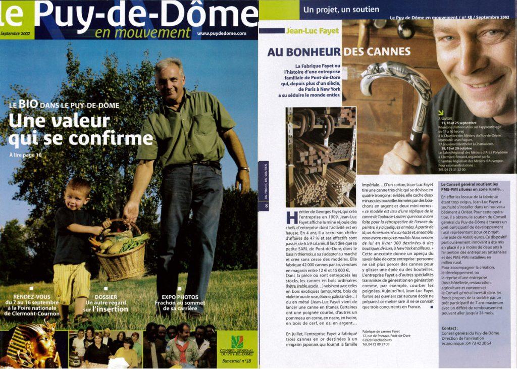 Le Puy de Dome en mouvement presse 2002