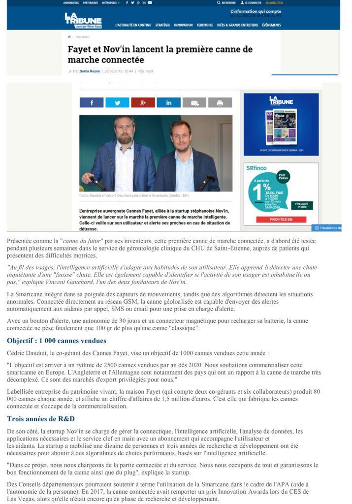 Article La Tribune Smartcane Cannes Fayet